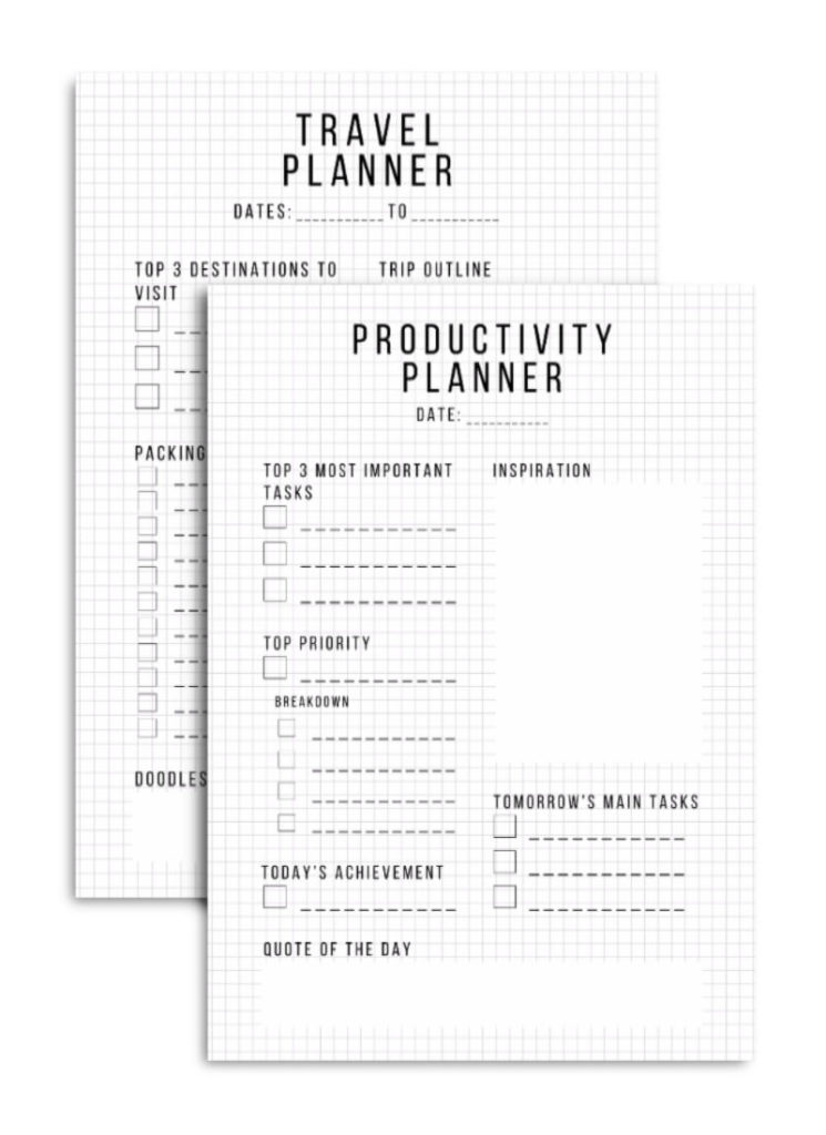 Productivity and Travel Printables